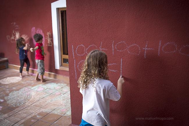 pintar con tizas en la pared
